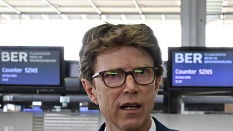 Unter Druck: Fluhafenchef Lütke Daldrup bei einem Pressetermin im Mai 2019