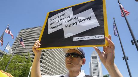 Auch in Los Angeles, USA, fanden am Sonntag Proteste gegen das in der Sonderverwaltungszone Hongkong geplante Auslieferungsgesetz von Verdächtigen an die Volksrepublik China statt.