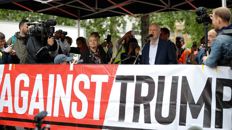 Labor leader Jeremy Corbyn at an anti-Trump event in London on the second day of the U.S. President's state visit to Britain on June 4.