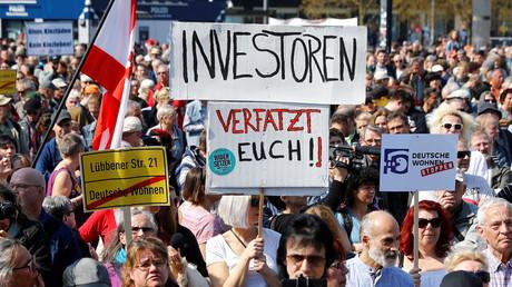 Demonstration gegen Immobilienspekulationen in Berlin, Deutschland, 6. April 2019