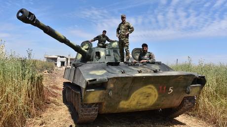 Syrische Soldaten in der Provinz Hama