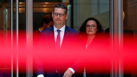 Der kommissarische SPD-Chef Thorsten Schäfer-Gümbel und die ehemalige SPD-Chefin Andrea Nahles, Berlin, Deutschland, 29. Oktober 2018.