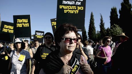 Demonstranten protestieren gegen zu geringe Renten für Holocaustüberlebende, Jerusalem, Israel, 5. August 2007