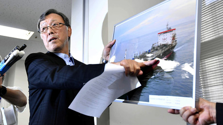 Yutaka Katada, Präsident der japanischen Frachtfirma Kokuka Sangyo Ltd., deren Schiff im Golf von Oman angegriffen wurde, während einer Pressekonferenz am Freitag in Tokio.
