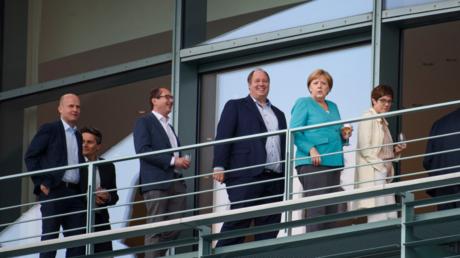 Die Koalitionsspitzen am Sonntag im Bundeskanzleramt.