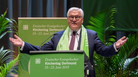 Bundespräsident Steinmeier während seiner Rede auf dem Kirchentag