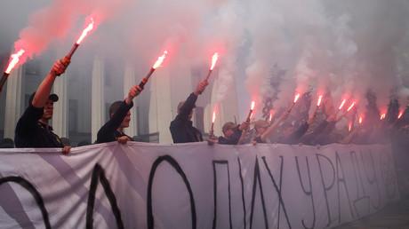 Ultrarechte Demonstranten in Kiew, Ukraine, 22. Mai 2019.