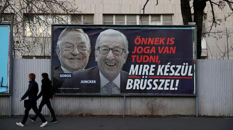 Wahlplakat in Budapest im März 2019