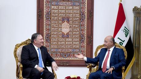 Der irakische Präsident Barham Salih mit US-Außenminister Mike Pompeo in Baghdad, Irak, 7. Mai 2019.