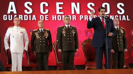 Der venezolanische Präsident Nicolás Maduro bei einer Beförderungszeremonie von Offizieren. Archivbild.