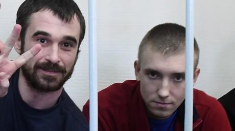 Zwei inhaftierte ukrainische Marinesoldaten am 17. April im Moskauer Untersuchungsgefängnis Lefortowo