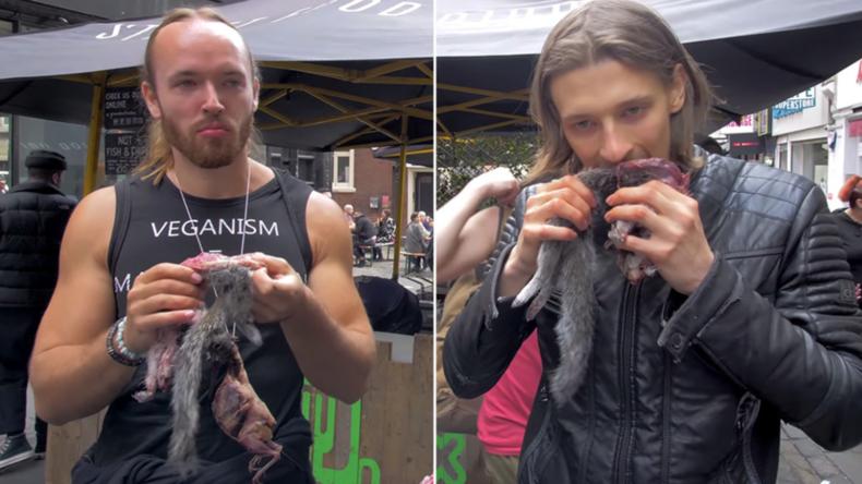Strafe für Fleisch-Fans nach Ekel-Protest, die auf Veganermarkt rohe Eichhörnchen aßen