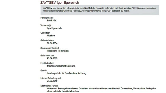 """""""Verrat von Staatsgeheimnissen"""" – Großfahndung nach angeblichem russischen Spion in Österreich"""