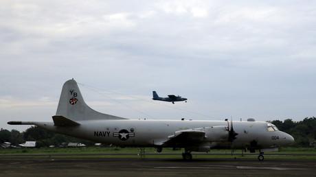 Ein Spionageflugzeug der US Navy vom Typ P3-C Orion auf einem Luftwaffenstützpunkt in Puerto Princesa auf den Philippinen am 24. Juni 2015