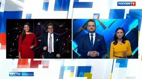 Screenshot des Trailers für die geplante Fernsehschaltung zwischen den Studios des russischen Fernsehsenders Rossija 1 und des ukrainischen Kanals NewsOne