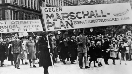 Er stieß nicht nur auf Gegenliebe: Vor allem Kommunisten demonstrierten 1948 in Deutschland gegen den Marshall-Plan mit seiner anti-sowjetischen Ausrichtung.