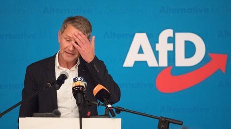 Björn Höcke, Vorsitzender der AfD in Thüringen, bei einer Rede am 14. Juli 2019 im sächsischen Lommatzsch
