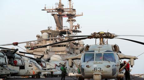 Flugdeck der USS Boxer (LHD-4) im Arabischen Meer vor dem Oman, 16. Juli, 2019