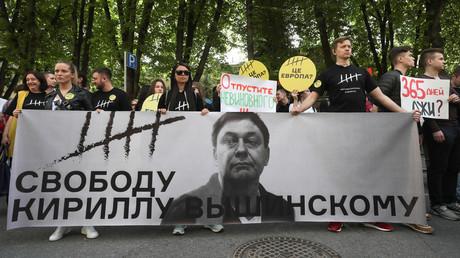 Eine Kundgebung zur Unterstützung von Kirill Wyschinski in Moskau.