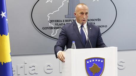 Der kosovarische Premierminister Ramush Haradinaj gibt am 19. Juli 2109 im Regierungssitz in Pristina eine Pressekonferenz, nachdem er seinen Rücktritt verkündet hat.