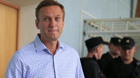 Alexej Nawalny in einem Gerichtssaal in Moskau