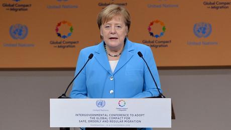 Bundeskanzlerin Angela Merkel spricht auf der Regierungskonferenz für den