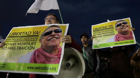 Anhänger der FARC demonstrieren in Bogota für die Freilassung des ehemaligen Guerillaführers Seuxis Hernande (16. Mai 2019)