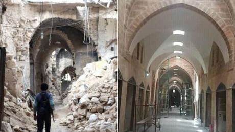 Wiederaufbau des Alten Basars in Aleppos historischer Altstadt