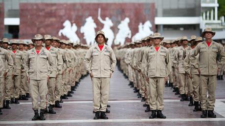 Milizangehörige während einer Zeremonie in Caracas, Venezuela, am 27. Juli 2019.