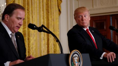 Der schwedische Ministerpräsident Stefan Löfven und US-Präsident Donald Trump, Weißes Haus in Washington, USA, 6. März 2018.
