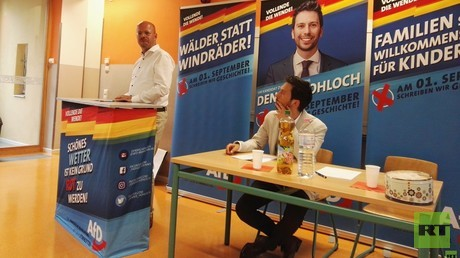 AfD-Wahlkampfveranstaltung am 30. Juli in Eichwalde.