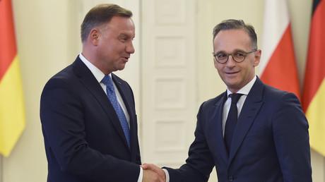Der polnische Präsident Andrzej Duda und der deutsche Außenminister Heiko Maas (r.) bei einem Treffen in Warschau am 31. Juli 2019