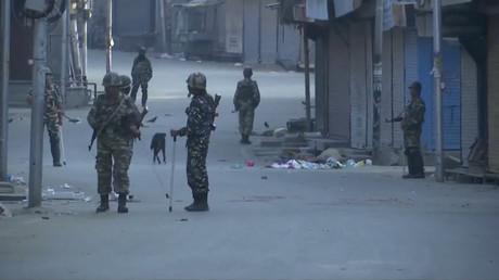 Sicherheitspersonal auf den Straßen von Srinagar, 5. August 2019.