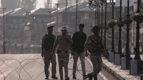 Indisches Sicherheitspersonal im nördlichsten indischen Bundesstaat Jammu und Kaschmir, 5. August 2019