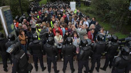 Ungenehmigte Demonstration in Moskau am Dienstag dieser Woche