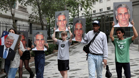 Protest gegen Jeffrey Epstein in New York am 8. Juli 2019