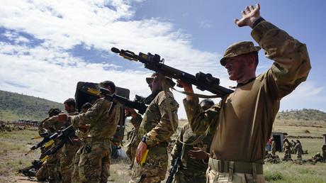 Britische Soldaten während einer Übung in Kenia.