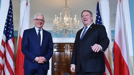 US-Außenminister Mike Pompeo gemeinsam mit seinem polnischen Amtskollegen Jacek Czaputowicz im US-Außenministerium