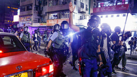 Hongkonger Polizei im Bezirk Sham Shui Po, China, 14. August 2019.