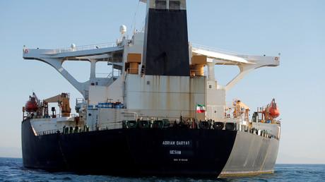 Die Adrian Darya-1 am Sonntag vor ihrer Freigabe in Gibraltar