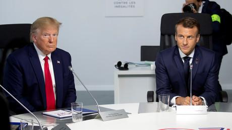 US-Präsident Donald Trump und der französische Präsident Emmanuel Macron, G7-Gipfel, Frankreich, 16. August 2019.