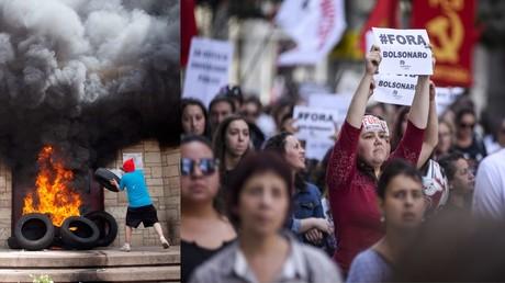 KEIN Nachrichtenwert?! Lee Camp erklärt Mainstream-Schweigen zu Unruhen in Honduras und Brasilien (li.: Demonstrant wirft Reifen ins Feuer am Eingang der US-Botschaft im honduranischen Tegucigalpa, 31. Mai 2019; re.: Generalstreik in Brasilien, Curitiba, 14. Juni 2019)