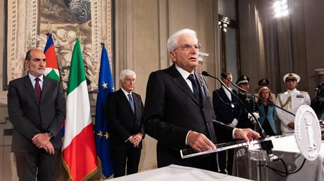 Der italienische Präsident Sergio Mattarella hält am 22. August 2019 in Rom eine Pressekonferenz ab. Zuvor traf er sich mit Vertretern politischer Parteien im Rahmen der Konsultationen zur Bildung einer neuen Regierung.