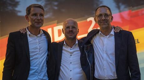 AfD-Wahlkampfveranstaltung am 30. August im brandenburgischen Königs Wusterhausen: v.l. Björn Höcke, Andreas Kalbitz und Jörg Urban