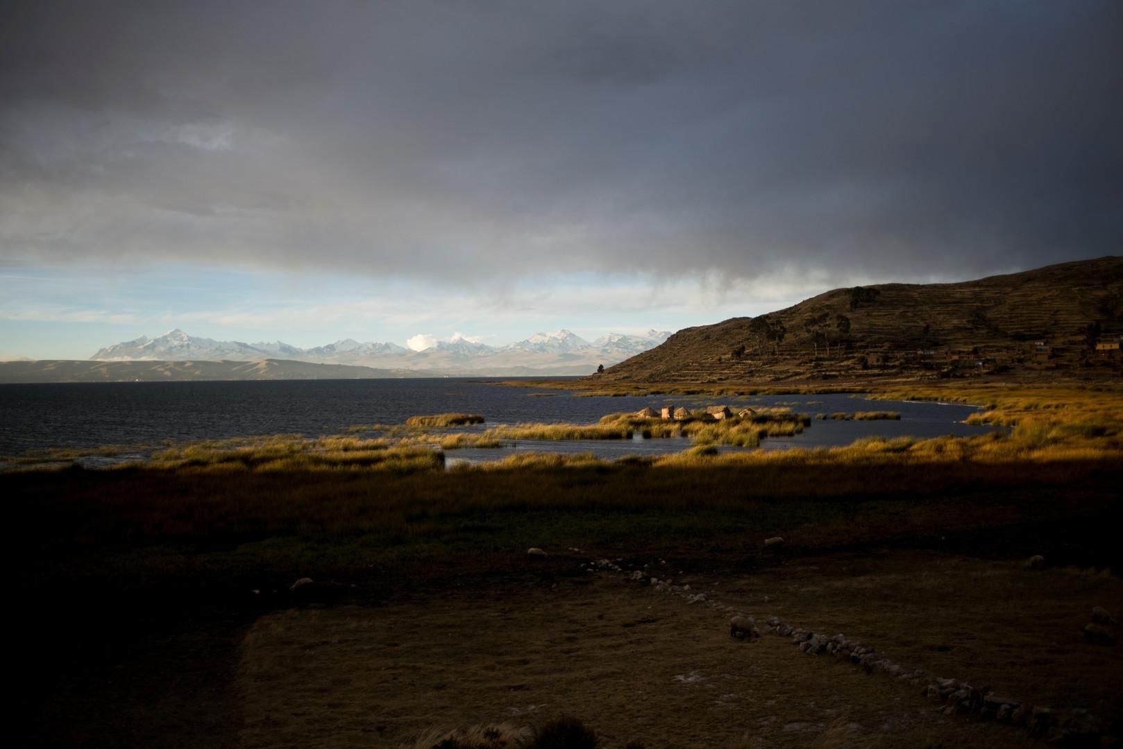 Häuser aus Totora-Schilf auf einer schwimmenden Insel am Titicacasee
