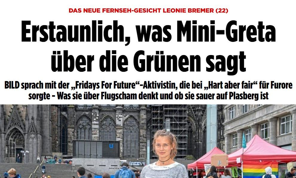 """Deutsche """"Mini-Greta"""" bringt sich via BILD medial in Stellung"""