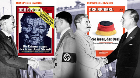 Links: Der britische Premier Neville Chamberlain und Adolf Hitler (1938). Rechts: Sowjetführer Josef Stalin und der deutsche Außenminister Joachim von Ribbentrop (1939)