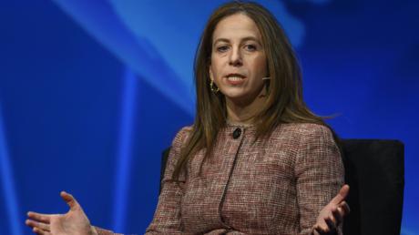 Staatssekretärin für Terrorismus und Finanzinformation im US-Finanzministerium, Sigal Mandelker, beim diesjährigen Konferenz der mächtigen pro-Israel Lobbyorganisation AIPAC am 24. März.