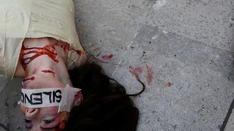 Symbolbild: Die spanische Aktivistin Jil Love bei einer Demonstration gegen Gewalt an Frauen, Mexiko, 27. Februar 2017.