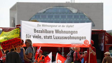 Demonstration gegen steigende Mieten, Berlin, Deutschland, 21. September 2018.